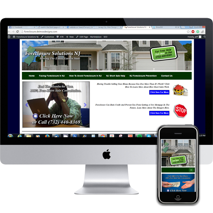 Web developer in NJ.  Portfolio piece for Foreclosure Solutions NJ.