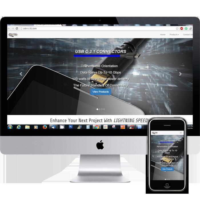 Web design in Middlesex NJ for USB-C cables site.  Portfolio piece.